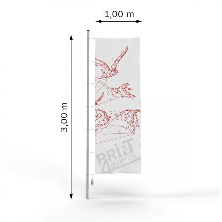 Flagi reklamowe - 100 x 300 - taśma + karabińczyki ➲ Print4Events.pl