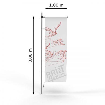 Flagi reklamowe - 100 x 300 - karabińczyki