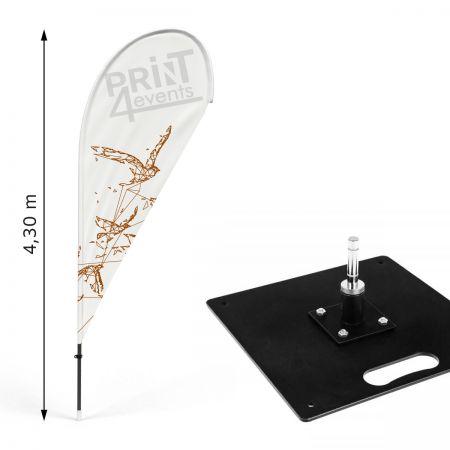 Zestaw flagowy Drop XL z Podstawą Płaską Stalową 58x58cm